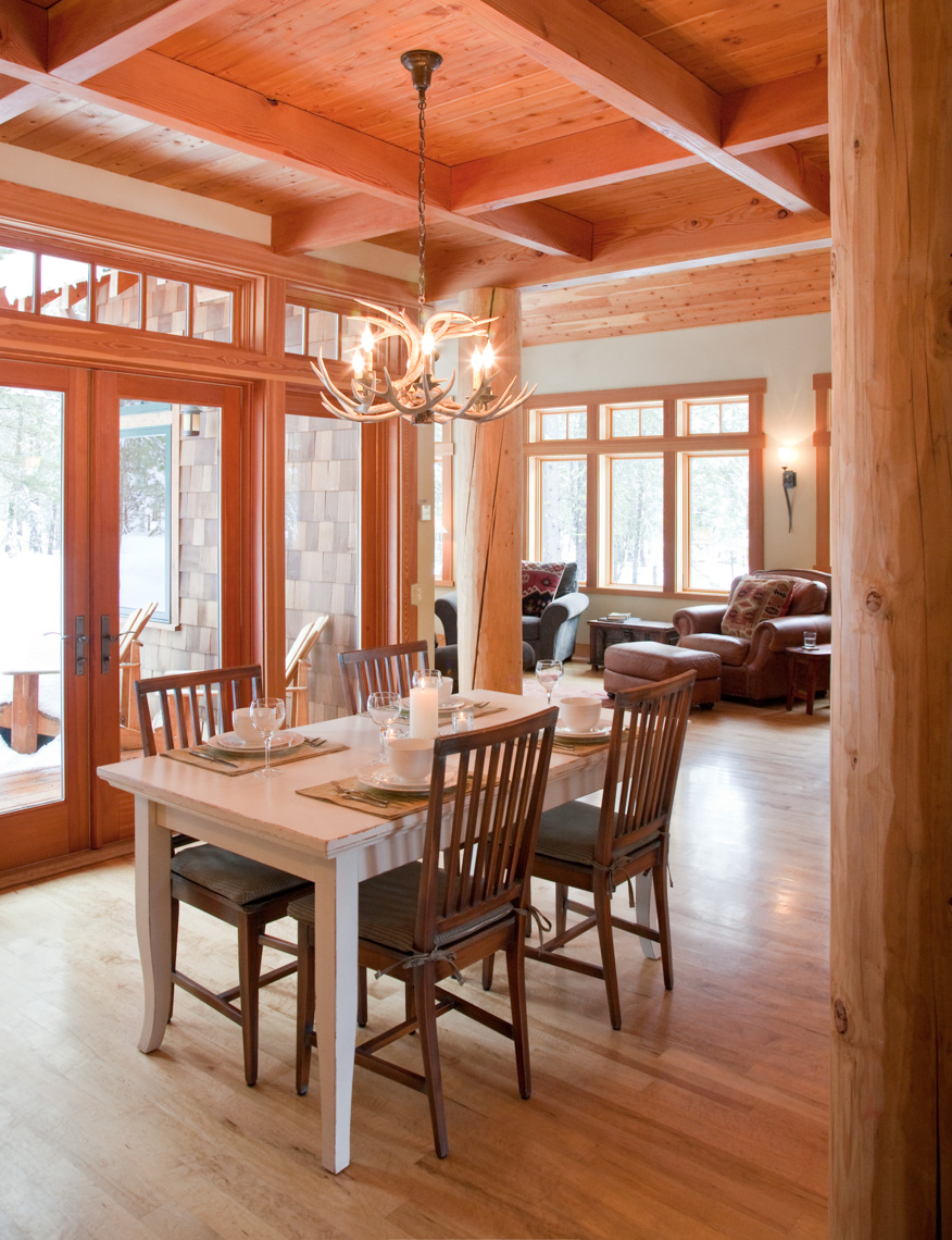 Interior of upscale vacation home in winter