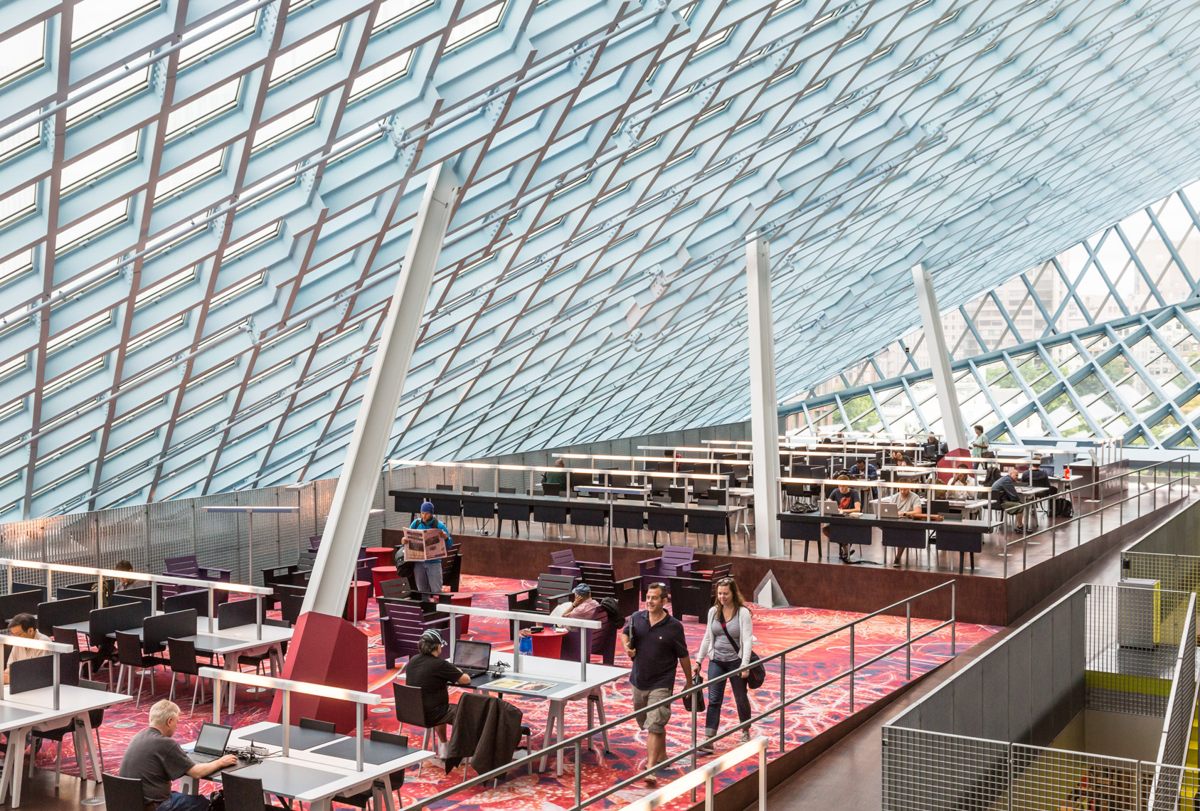 The main reading room in Seattle Central Library. Architecture by Rem Koolhaas and Joshua Prince-Ramus.