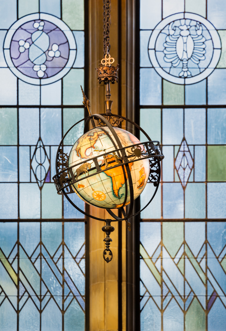Hand-painted world globe with astrological symbols in Suzzallo Library, University of Washington
