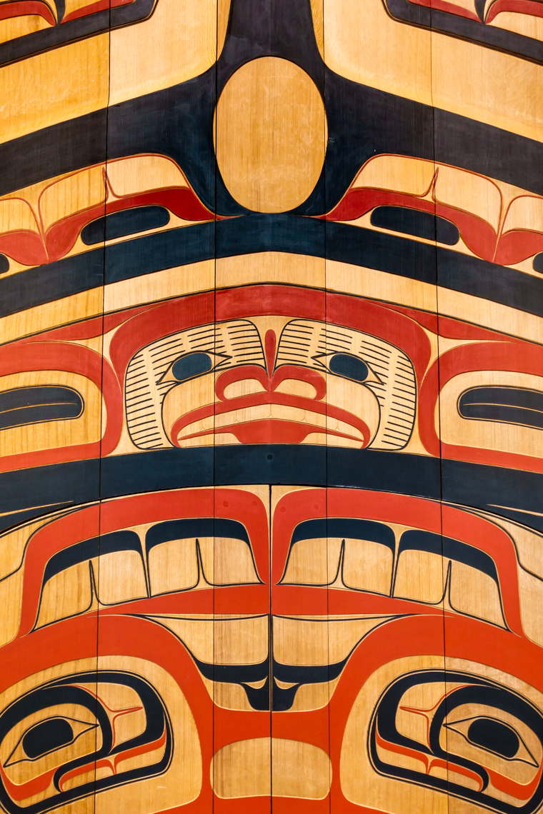 Carved and painted cedar wood Tsimshian Native American Indian tribal clan house front, Juneau, Alaska, by father and son artists David Boxley